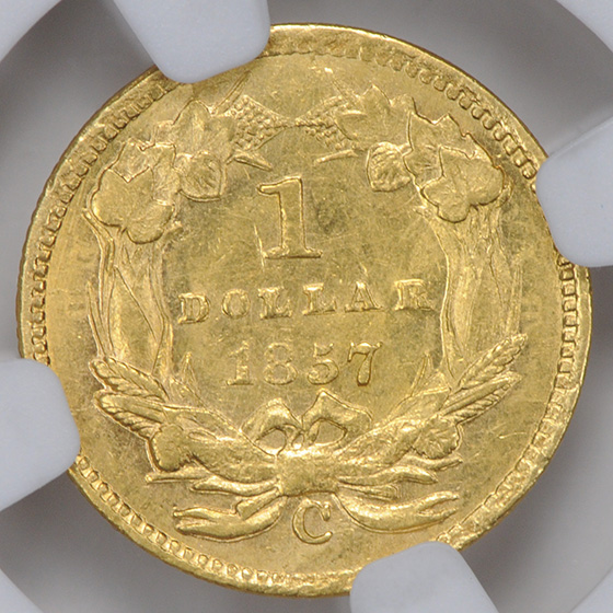 Picture of 1857-C GOLD G$1, TYPE 3 MS62
