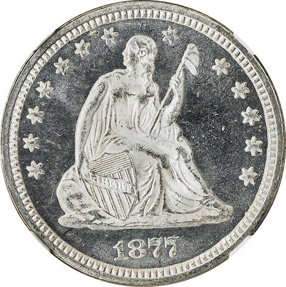 Picture of 1877 LIBERTY SEATED 25C, MOTTO MS67+
