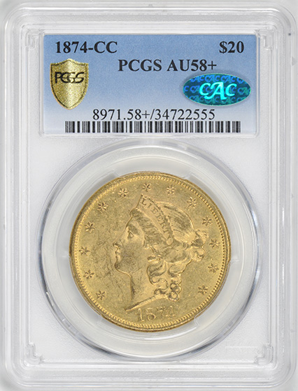 Picture of 1874-CC LIBERTY $20 AU58+
