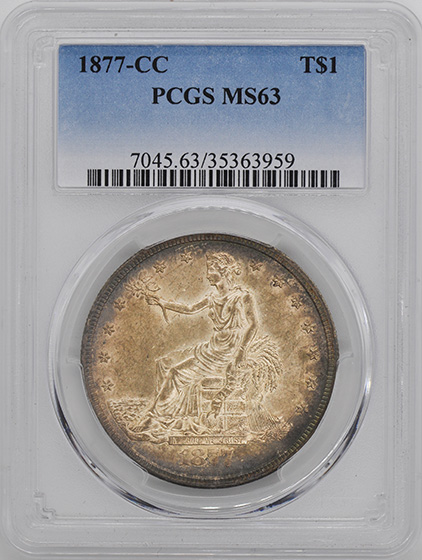 Picture of 1877-CC TRADE T$1 MS63