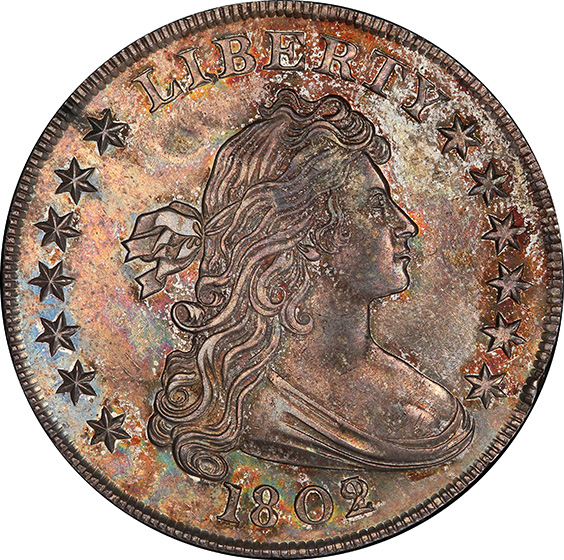 Picture of 1802/1 DRAPED BUST $1, OVERDATE MS64