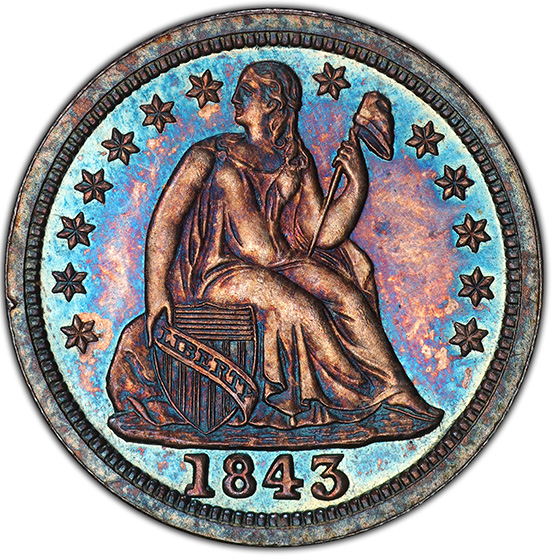 Picture of 1843 LIBERTY SEATED 10C PR65