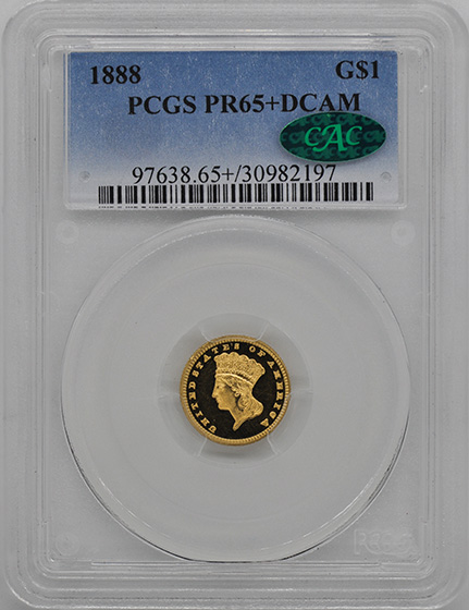 Picture of 1888 GOLD G$1, TYPE 3 PR65+ Deep Cameo