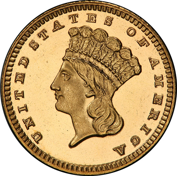 Picture of 1888 GOLD G$1, TYPE 3 PR65 Cameo