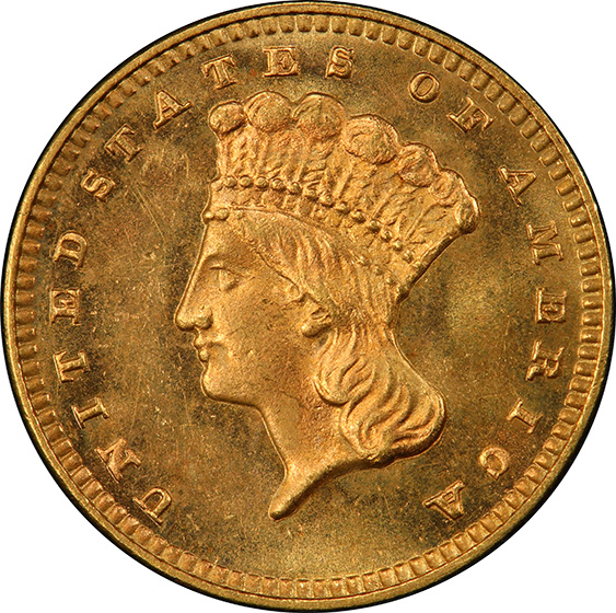 Picture of 1876 GOLD G$1, TYPE 3 MS66