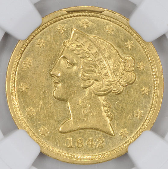 Picture of 1842-C LIBERTY $5, SMALL DATE AU58
