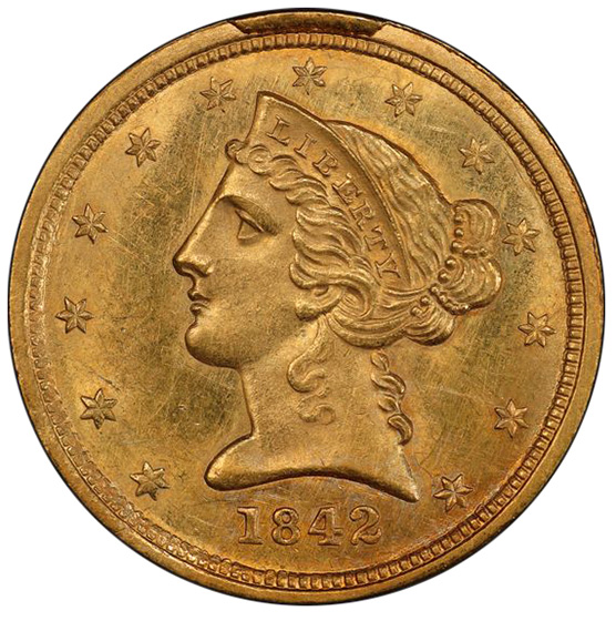 Picture of 1842-C LIBERTY $5, SMALL DATE MS62