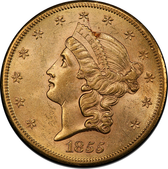 Picture of 1855-S LIBERTY HEAD $20 MS62