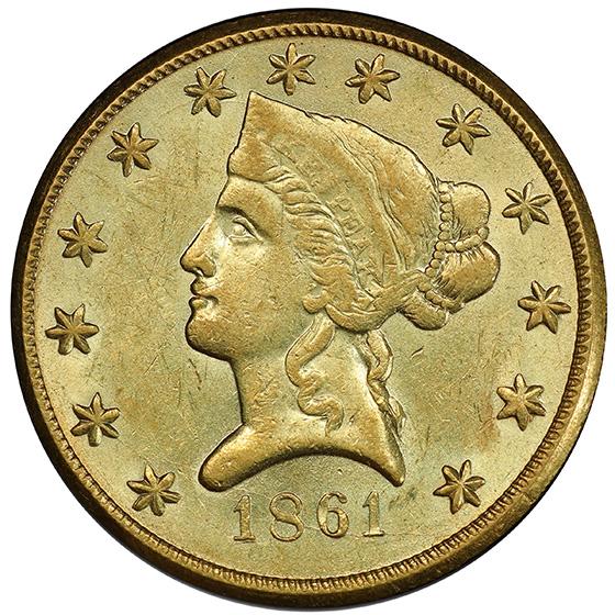 Picture of 1861 CLARK GRUBER $10, CLARK GRUBER AU58
