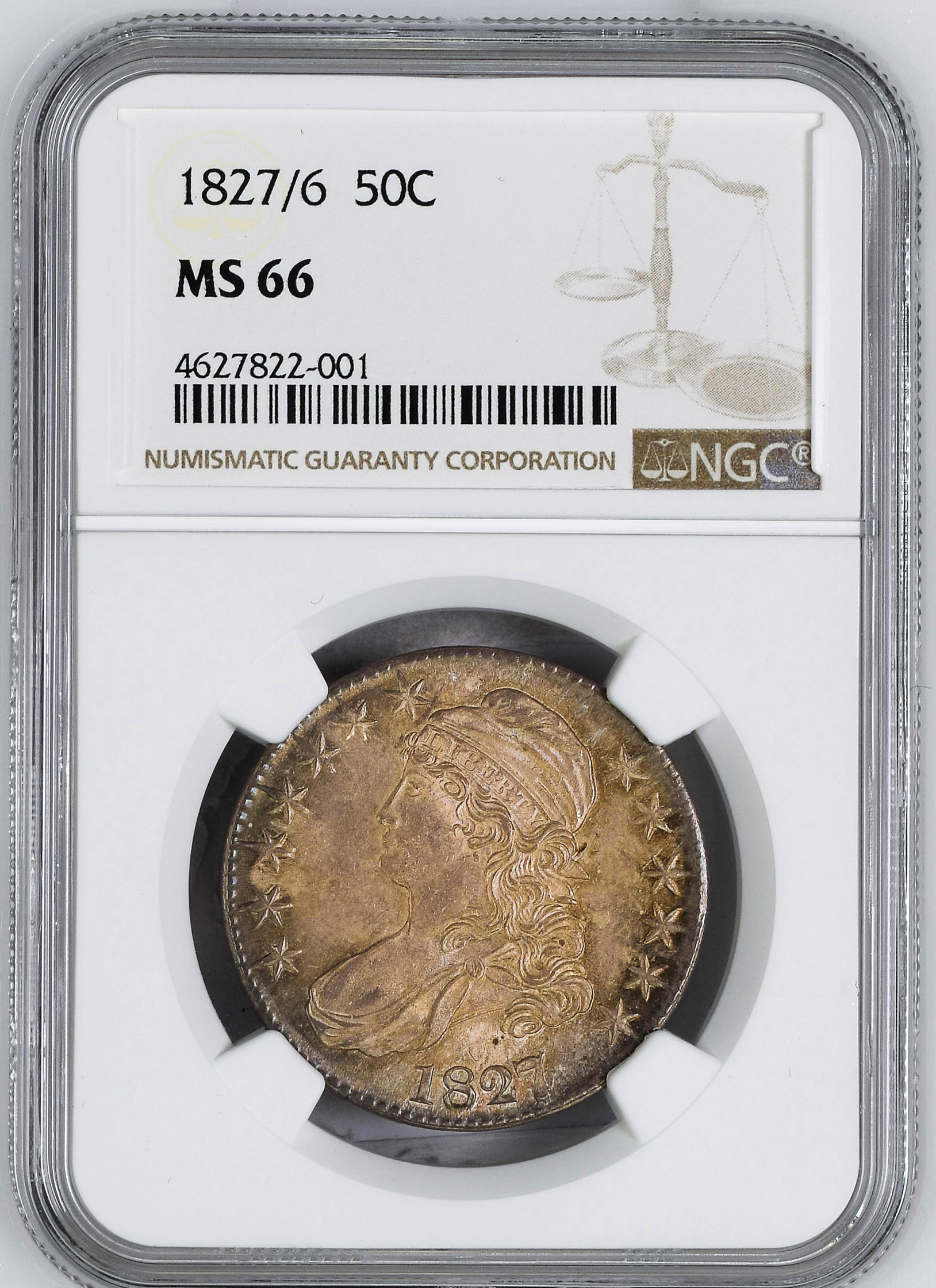 Picture of 1827/6 CAPPED BUST 50C MS66