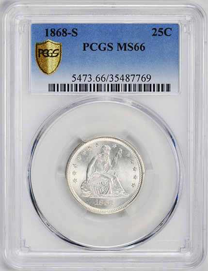 Picture of 1868-S LIBERTY SEATED 25C, MOTTO MS66