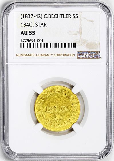 Picture of C BECHTLER $5, 134 GRAINS, STAR AU55