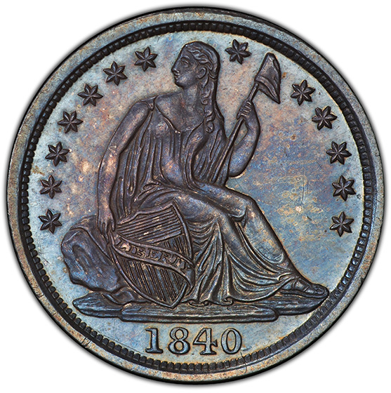 Picture of 1840 LIBERTY SEATED H10C, NO DRAPERY PR65