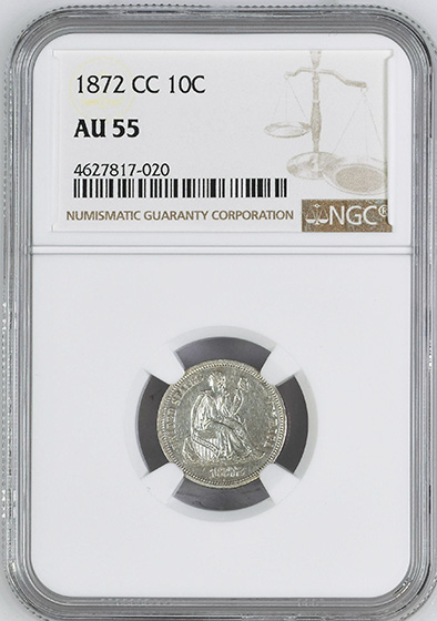Picture of 1872-CC LIBERTY SEATED 10C AU55