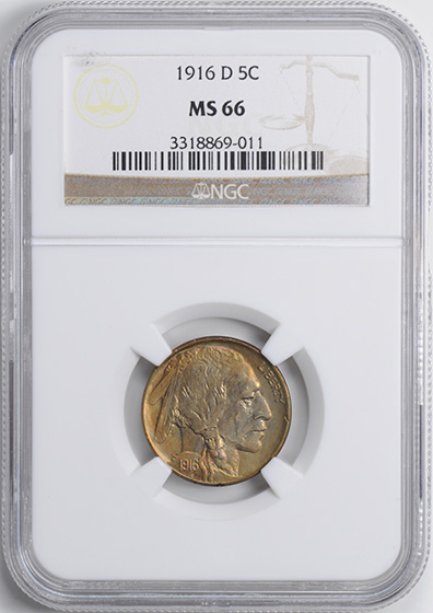 Picture of 1916-D BUFFALO 5C MS66