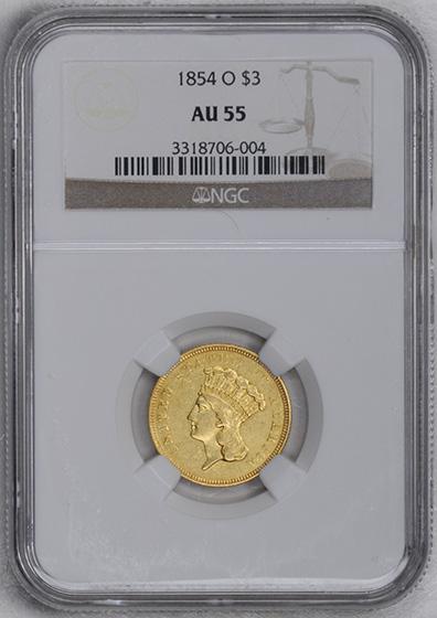 Picture of 1854-O INDIAN PRINCESS $3 AU55