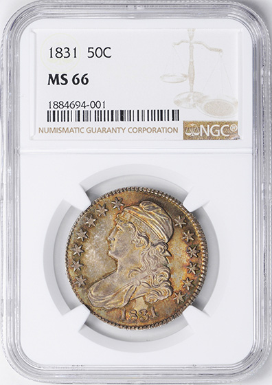 Picture of 1831 CAPPED BUST 50C MS66