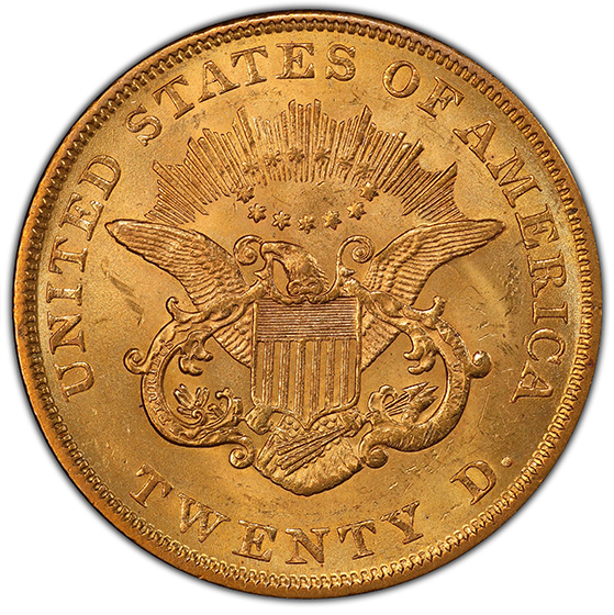 Picture of 1853/2 LIBERTY HEAD $20, OVERDATE MS61