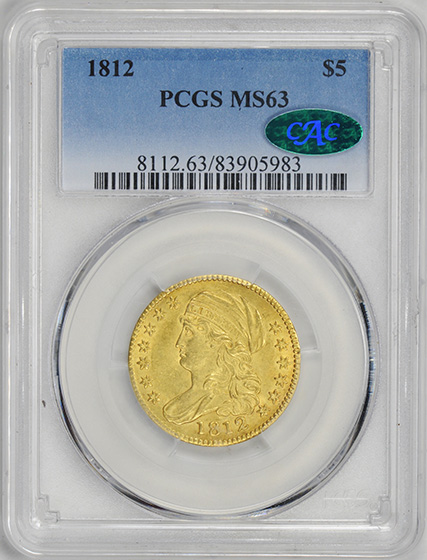 Picture of 1812 CAPPED BUST $5 MS63