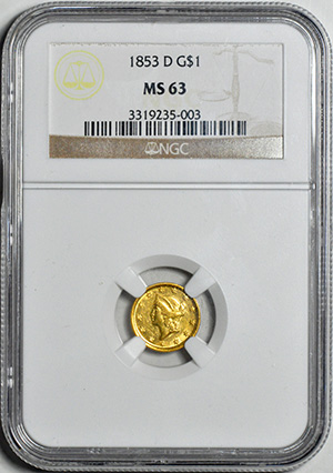 Picture of 1853-D GOLD G$1, TYPE 1 MS63