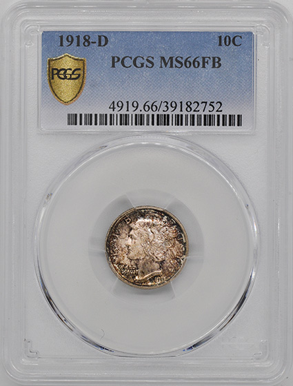 Picture of 1918-D MERCURY 10C MS66 Full Bands