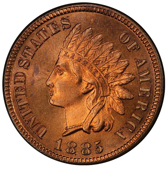 Picture of 1885 INDIAN BRONZE 1C PR65 Red
