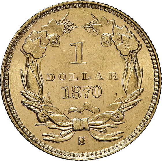 Picture of 1870-S GOLD G$1, TYPE 3 MS65