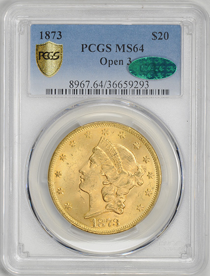 Picture of 1873 LIBERTY HEAD $20, OPEN 3 MS64