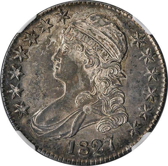 Picture of 1827 CAPPED BUST 50C, CURL BASE 2 MS64