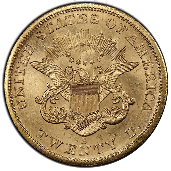 Picture of 1855-S LIBERTY HEAD $20 MS63