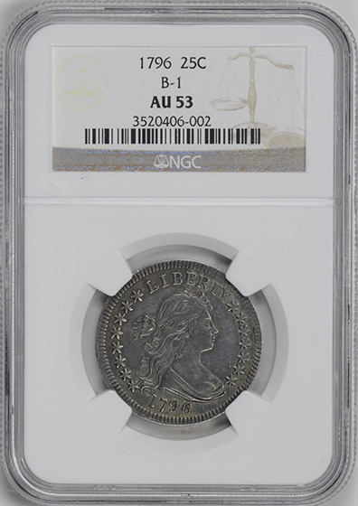 Picture of 1796 DRAPED BUST 25C, SMALL EAGLE AU53