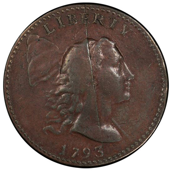 Picture of 1793 LIBERTY CAP 1C, LIBERTY CAP VF35 Brown