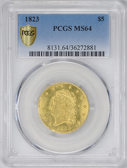 Picture of 1823 CAPPED BUST $5 MS64