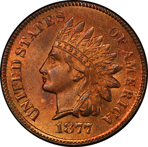 Picture of 1877 INDIAN BRONZE 1C MS65 Red
