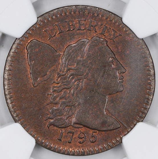 Picture of 1795 FLOWING HAIR LARGE 1C, PLAIN EDGE MS63 Brown