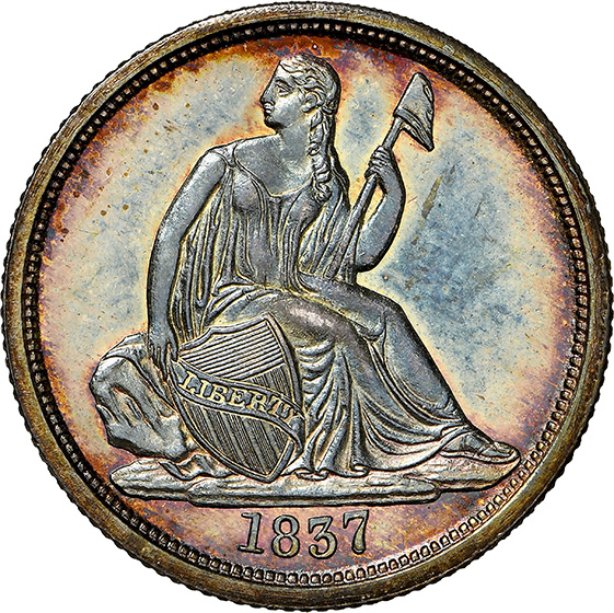 Picture of 1837 LIBERTY SEATED 10C, NO STARS PR65