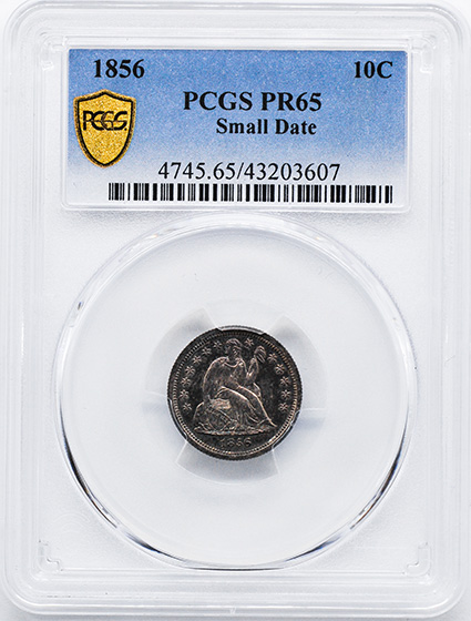 Picture of 1856 LIBERTY SEATED 10C, SMALL DATE, DRAPERY PR65