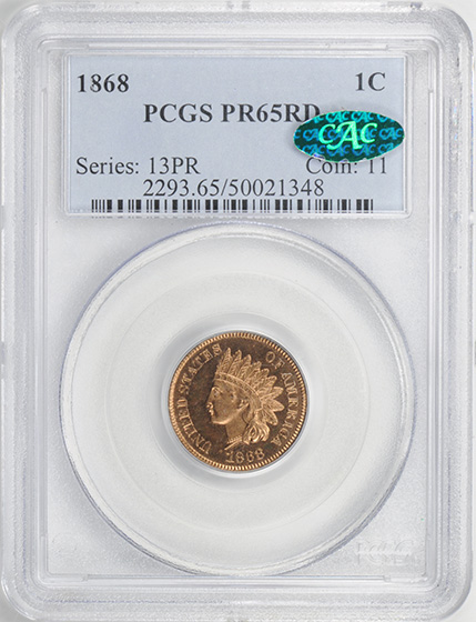 Picture of 1868 INDIAN BRONZE 1C PR65 Red