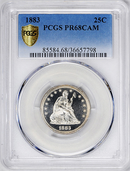Picture of 1883 LIBERTY SEATED 25C, MOTTO PR68 Cameo