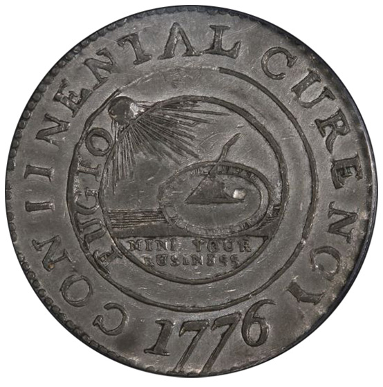 Picture of 1776 CONTINENTAL CURRENCY $1, CURENCY, PEWTER AU58