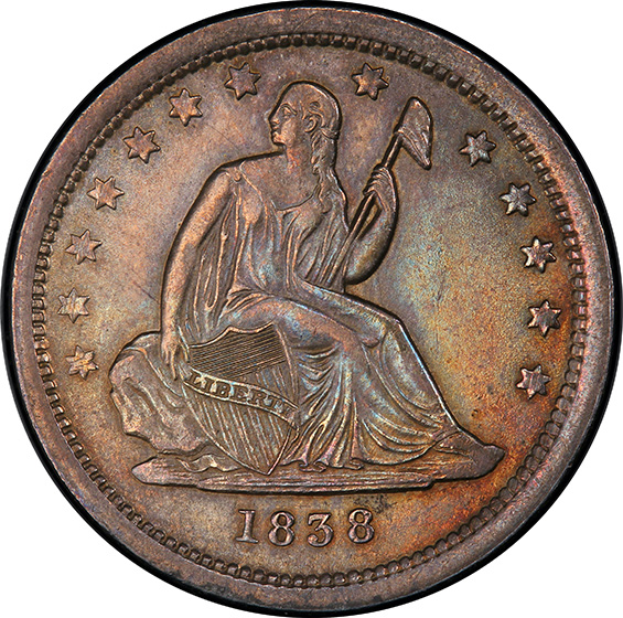 Picture of 1838 LIBERTY SEATED 25C, NO DRAPERY MS64