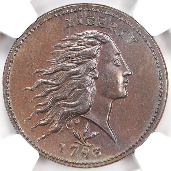 Picture of 1793 WREATH 1C, VINE AND BARS EDGE MS64 Brown