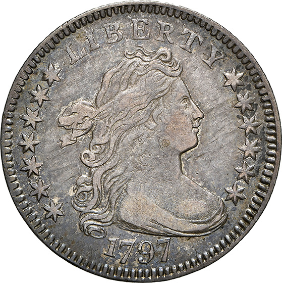 Picture of 1797 DRAPED BUST 10C, 13 STARS AU55