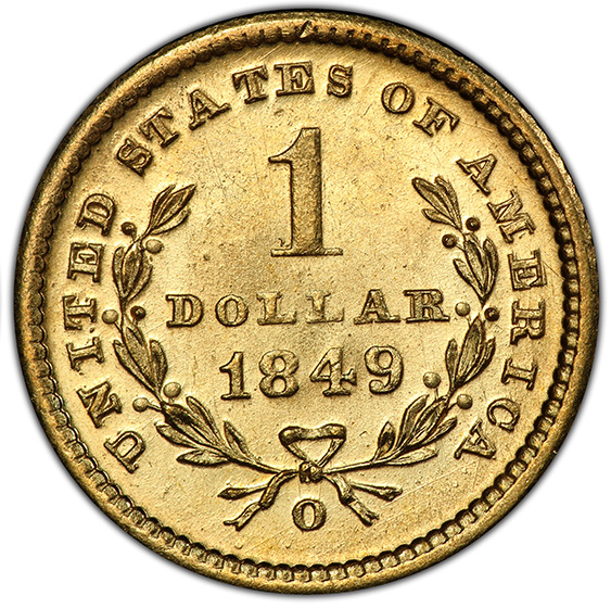 Picture of 1849-O GOLD G$1, TYPE 1 MS65