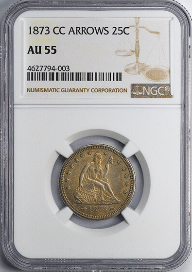 Picture of 1873-CC LIBERTY SEATED 25C, ARROWS AU55