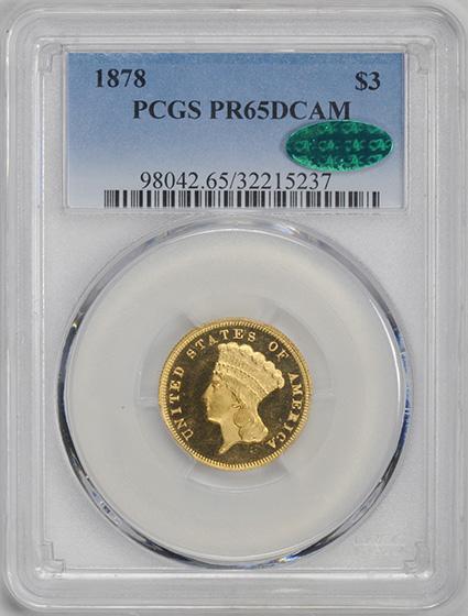 Picture of 1878 INDIAN PRINCESS $3 PR65 Deep Cameo