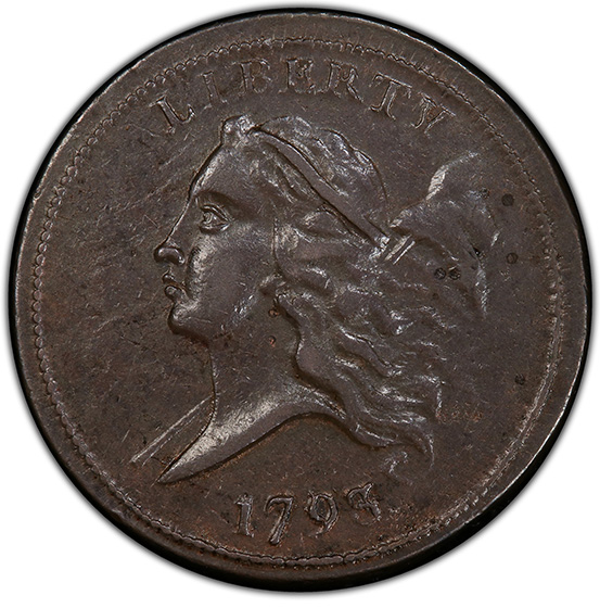 Picture of 1793 LIBERTY CAP 1/2, TYPE 1 FACING LEFT AU50 Brown