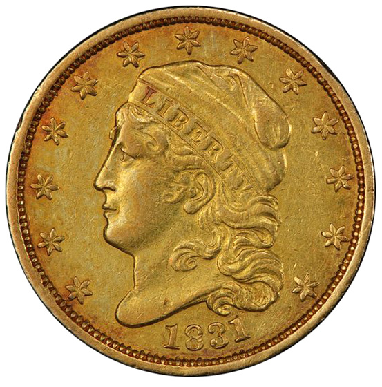 Picture of 1831 CAPPED BUST $2.5 AU50