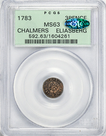 Picture of 1783 CHALMERS 3PENCE MS63
