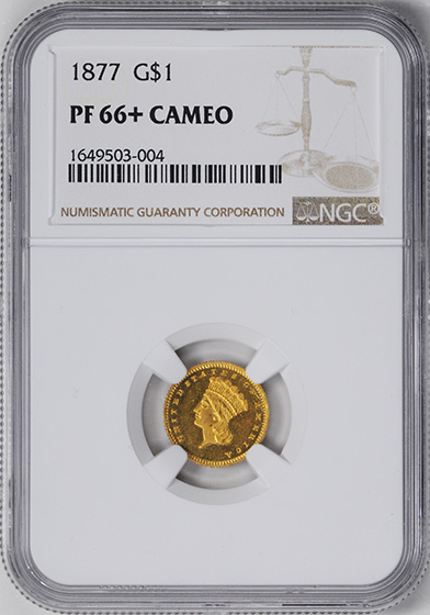 Picture of 1877 GOLD G$1, TYPE 3 PR66 Cameo